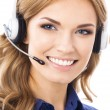 Support phone operator in headset, isolated — Stock Photo #34331171