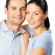 Young happy couple, on white — Stock Photo