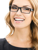 Cheerful smiling woman in glasses, isolated — Stock Photo
