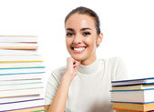 Woman with textbooks, isolated — Stock Photo