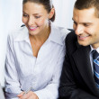 Two smiling young businesspeople — Stock Photo