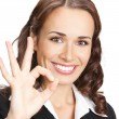 Stock Photo: Businesswomwith okay gesture, isolated