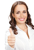 Woman with thumbs up gesture, over white — Stock Photo