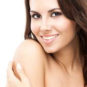 Vrouw aanraken van de huid of toepassing van room, geïsoleerd — Stockfoto