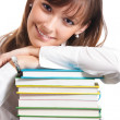 Stock Photo: Young woman with books, isolated