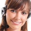 Stock Photo: Support phone operator in headset, isolated