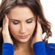 Stock Photo: Thinking, tired or ill with headache young woman