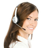 Customer support phone operator, isolated — Stock Photo