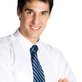 Portrait of young happy smiling businessman, isolated — Stock Photo