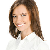 Portrait of happy smiling cheerful young business woman — Stock Photo