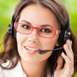 Stock Photo: Support phone operator in headset