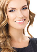 Happy smiling young woman, over white — Stock Photo
