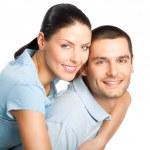 Портрет молодой, счастливый, улыбающийся привлекательные пара, изолированные на w — Стоковое фото