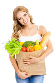 Woman with vegetarian food, on white — Stock Photo