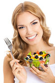 Woman with vegetarian salad, over white — Stock Photo