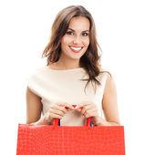 Ung glad kvinna med kassar, isolerade — Stockfoto