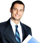 Businessman with folder, isolated — Stock Photo