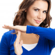 Woman showing heart symbol gesture, isolated — Stock Photo #46635257