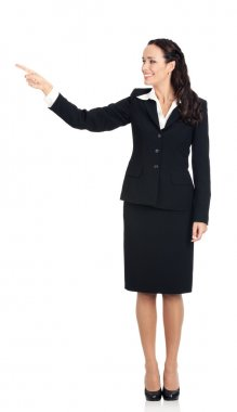 Young businesswoman showing something, on white