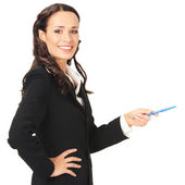 Businesswoman showing, over white — Stock Photo