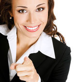 Businesswoman pointing finger at viewer, on white — Stock Photo