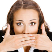 Business woman covering mouth, isolated  — Stock Photo