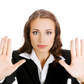 Businesswoman with stop gesture, on white — Stock Photo