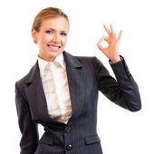 Businesswoman with okay gesture, isolated on white — Stock Photo