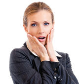 Shocked businesswoman, isolated on white — Stock Photo