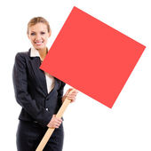 Businesswoman showing signboard, over white  — Stock Photo