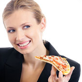 Businesswoman eating pizza, isolated — Stock Photo