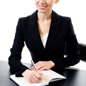Businesswoman at workplace, isolated  — Stock Photo