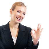 Businesswoman with okay gesture, isolated — Stock Photo
