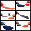 Spilled a bottle of blue, red and black ink — Stock Photo #40716035