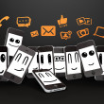 Phones with social media symbol — Stock Photo #12025442