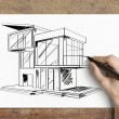 Drawing cottage — 图库照片