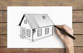 Tekening huis — Stockfoto