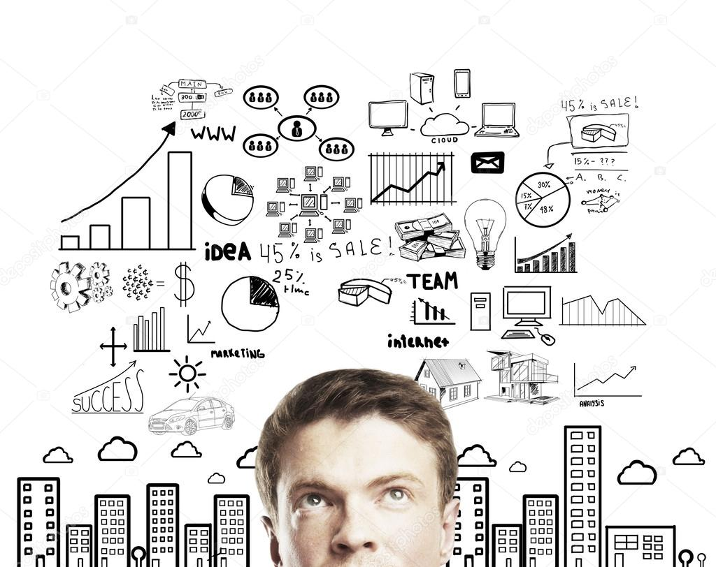 Pensive young man with business plan concept — Stock Photo #12705347
