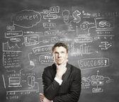 Uomo con business plan — Foto Stock