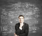 Uomo con business plan — Foto Stock