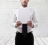 Man hold paper — Stock Photo