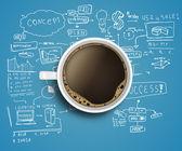 Bedrijfsstrategie en koffie — Stockfoto