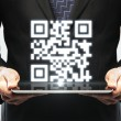 Tablet with qr code — Stock Photo