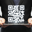 Stock Photo: Tablet with qr code