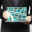 Touchpad with map — Stock Photo
