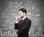 Man with business plan — Fotografia Stock