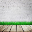 Wall with green grass - Stock Photo