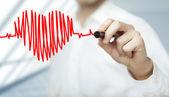 Batimento cardíaco e gráfico — Foto Stock