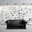 Big concept city and sofa - Stock Photo