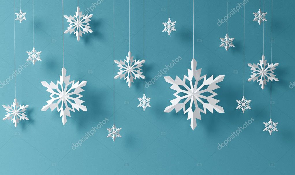 High definition snowflakes on blue background — Photo #17371263